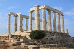 Temple of Poseidon on Cape Sounion, Greece. Stock Photos