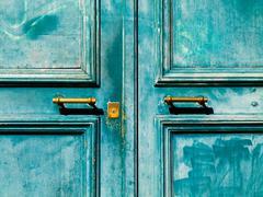 turquoise  door - stock photo