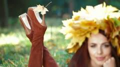 Autumn Leaf On High Heel Stock Footage
