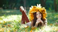 Stock Video Footage of Smiling Attractive Woman in Autumn Wreath
