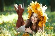 Stock Video Footage of Beautiful Woman Enjoying Sunny Autumn Day