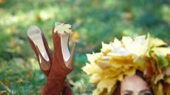 Autumn Leaf On High Heel Stiletto Boots Stock Footage