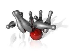 3d bowling strike Stock Illustration