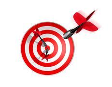 3d dart right on the target center - stock illustration