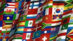 Multi-Country Waving Flag - stock footage