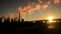 Ferrybridge power station sunrise Stock Footage