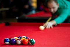 Eight balls billiards Stock Photos