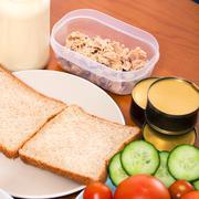 Tuna sandwiches preparation Stock Photos