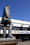 Robert Stephenson Statue at Euston Station - stock photo