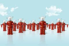 old metal robots army - stock photo