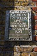 Charles Dickens Plaque in London Stock Photos