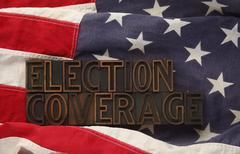 American flag with words election coverage.jpg - stock photo