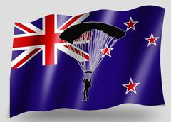 country flag sport icon silhouette new zealand parachuting - stock illustration