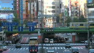 Stock Video Footage of Shinjuku crossing with train at the background