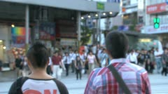 Blur people at busy pedestrian in Shinjuku, Tokyo, Japan Stock Footage