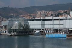 The sphere of Renzo Piano at the port of Genoa. Stock Photos