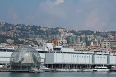 The aquarium and the sphere of Renzo Piano in Genoa. - stock photo
