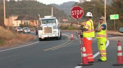 1080p Road Construction Stop Sign Stock Footage