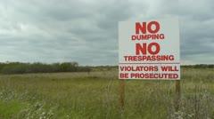 No Dumping Warning Sign Stock Footage