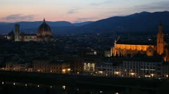 Aerial View of Florence, Italy, Florence Cathedral, Duomo, Santa Croce Church Stock Footage