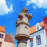 Bridge lion statue on way to markt, bruges, belgium Stock Photos