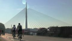 Cable bridge,  Ada Bridge in Belgrade, Serbia Stock Footage