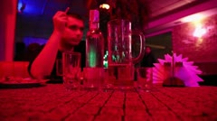 Man drinking and smoking in a restaurant Stock Footage