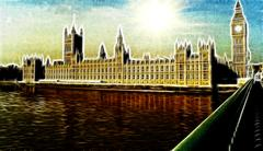 Artistic impression westminster palace london Stock Illustration