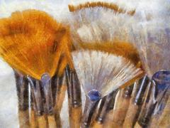 oil painting of artistic painting brush display - stock illustration