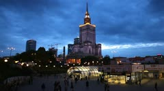 Warsaw Skyline Poland, European City Center, People commuting to work, home Stock Footage