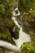 Stock Photo of Pailon Del Diablo Devils Cauldron In Ecuadorian Rainforest Shoot From A Very