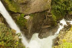 Pailon Del Diablo Devils Cauldron In Ecuadorian Rainforest Shoot From A Very - stock photo