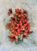 bouquet in small glass vase - stock illustration