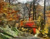 Stock Illustration of orange train through forest (oil painting)