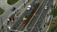 Stock Video Footage of Warsaw Traffic Crowded Trasportation, Bus, Tramway, Polish Crowd People