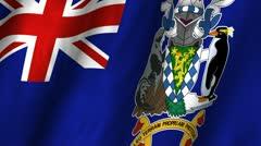 South Georgia & South Sandwich Islands Waving Flag Stock Footage