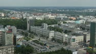 Stock Video Footage of Warsaw Cityscape, Stadium, Poland, Financial District City Center Traffic Europe