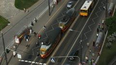 Warsaw Traffic Crowded Trasportation, Bus, Tramway, Polish Crowd People Stock Footage