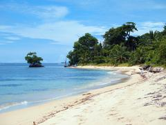 tropical beach in panama - stock photo
