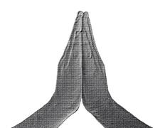 praying hands front on white - stock illustration