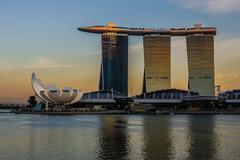 Sunset at Marina Bay Sands Hotel, Singapore Stock Photos