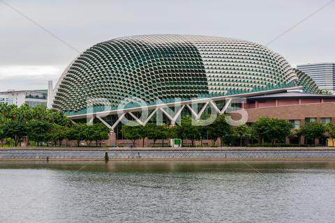 Stock photo of The Esplanade Theaters on the Marina Bay in Singapore.