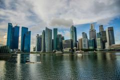 Panorama of Marina Bay in Singapore - stock photo
