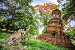 Ancient Thai ruins in Ayutthaya - stock photo