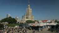 Stock Video Footage of Warsaw Cityscape, Poland, Financial District, City Center, Traffic, Europe