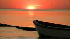 Boat and Beautiful Sunset - Baltic Sea, Northern Germany Stock Footage