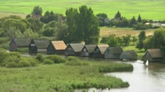 Boat Houses in the Mecklenburg Lake District - Northern Germany Stock Footage