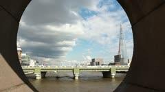 Train on bridge with The Shard London Stock Footage