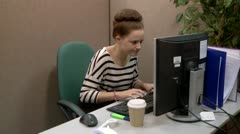 Unhappy teen office worker Stock Footage