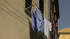 Italy - clothes line - stock footage